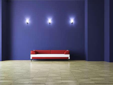 Sofa near the wall in the room Stock Photo - 15586456