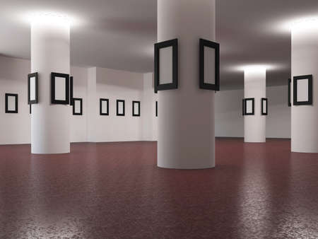The big gallery with empty wooden frames photo