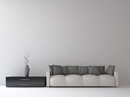divano: Divano e un vaso vicino al muro Archivio Fotografico