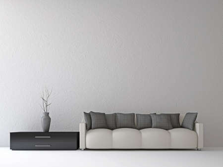 livingroom: Sofa and a vase near the wall