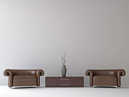 Armchairs and a vase near the wall Stock Photo - 15651225