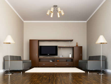 livingroom: A room interior with a TV set