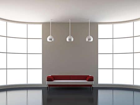 divan: El sofá de cuero junto a la ventana grande