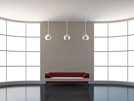 The leather sofa near the big window Stock Photo - 15651216