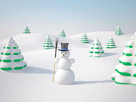 The winter landscape with trees and snowman Stock Photo