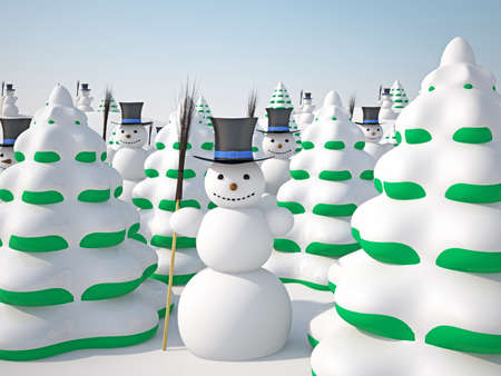 snowman 3d: The winter landscape with trees and snowmans