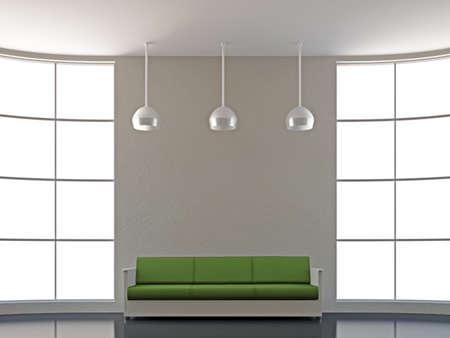 The green sofa near the big window Stock Photo - 15870915