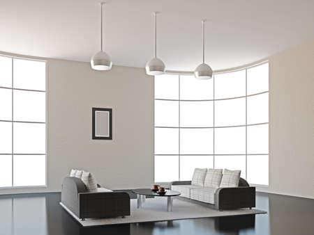 стиль жизни: Интерьер комнаты с диваном и столом Фото со стока