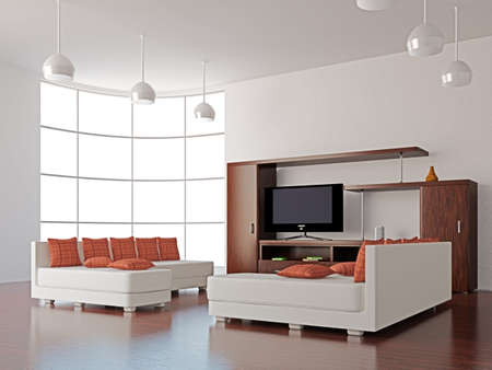 zen interior: A room interior with a TV set