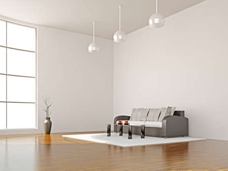 zen interior: A room interior with sofa and table