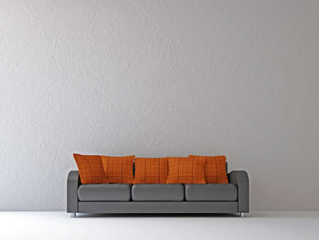 couch: Sofa with orange pillows near the wall