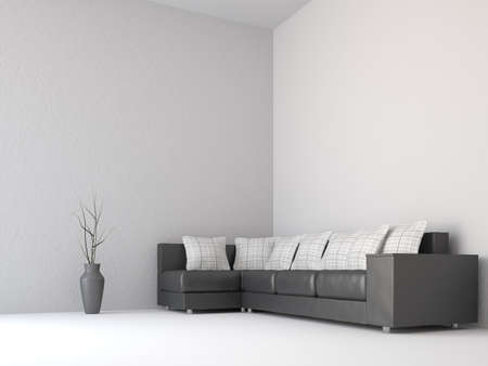 Sofa with white pillows near the wall Stock Photo - 15870920
