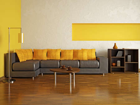 A room interior with a leather sofa Stock Photo - 15870924