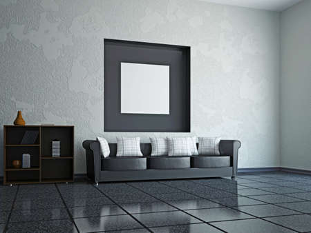 zen interior: A room interior with a leather sofa