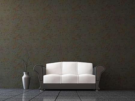 divano: Divano con un vaso vicino al muro