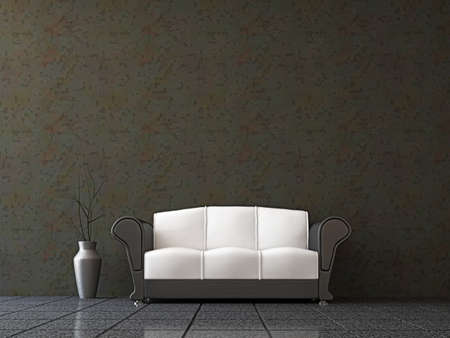 Sofa with a vase near the wall photo