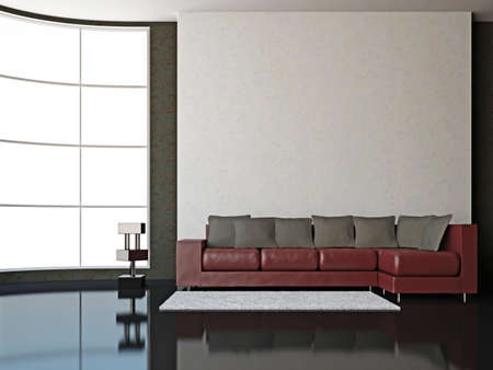 A room interior with sofa near big window  Stock Photo - 15978763