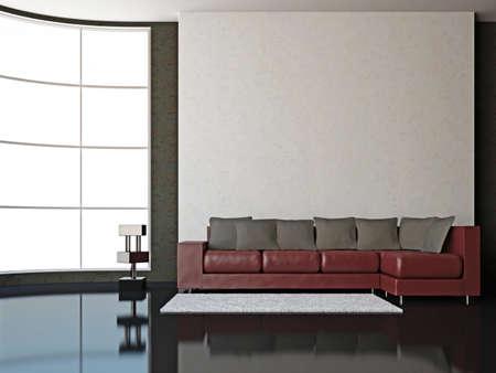 A room interior with sofa near big window