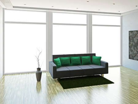 A room inter with sofa and vase Stock Photo - 15978758