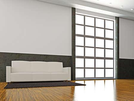 The white sofa near the big window Stock Photo - 15978756