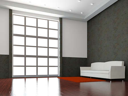 The white sofa near the big window Stock Photo - 15978757