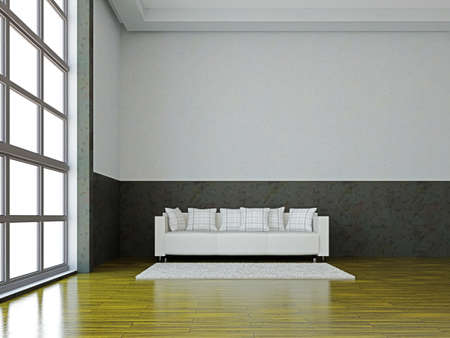 The white sofa near the big window photo