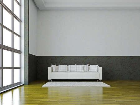 The white sofa near the big window Stock Photo - 15978759