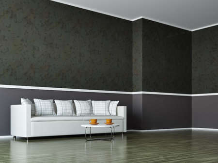 A room interior with a white sofa photo