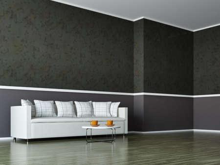 A room interior with a white sofa