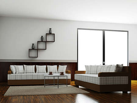 A room inter with a sofas and a table Stock Photo - 16249143