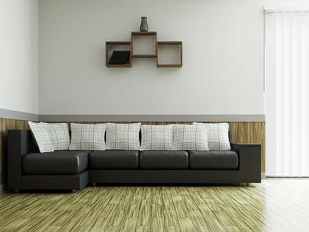 A room interior with a big leather sosa Stock Photo - 16249133