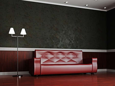 zen interior: A room interior with a red leather sofa