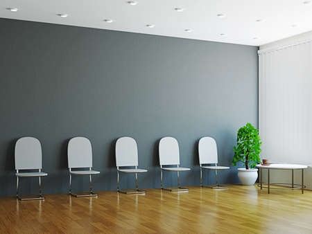 board room: Hall with the chairs and plant near the wall Stock Photo
