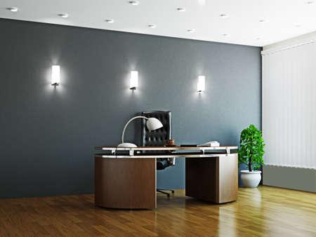 meubles de bureau: Grand bureau avec des meubles en bois et fen�tre Banque d'images