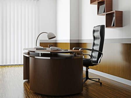 big window: Bureau met houten meubels en grote ramen Stockfoto