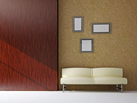 The leather sofa near the wooden wall Stock Photo - 16249178