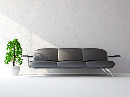 divan sofa: The leather sofa near the white wall Stock Photo
