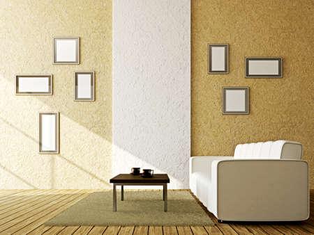 divan: Blanco sofá y una mesa cerca de la pared
