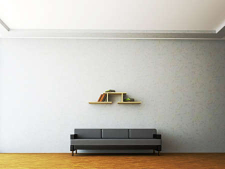 zen interior: A room interior with a leather sofa near the wall Stock Photo