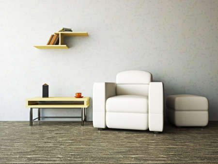 zen interior: A room interior with a armchair and a table