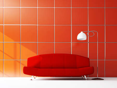 The red sofa near the red wall Stock Photo - 16249131