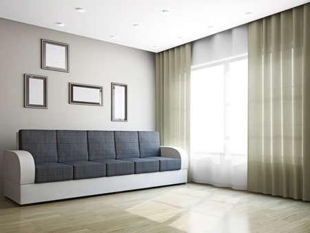 window curtain: Big sofa in the livingroom near the window