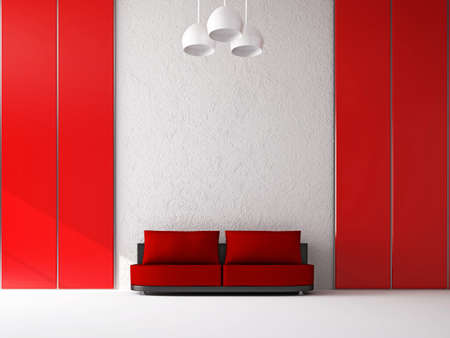 The small red sofa near the wall photo
