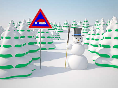 snowcapped landscape: The winter landscape with trees and snowman Stock Photo