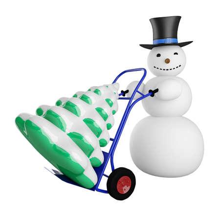 carretilla de mano: Mu�eco de nieve grande con el �rbol de Navidad en un carro de mano