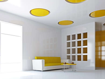 The big livingroom with yellow sofa near the wall photo