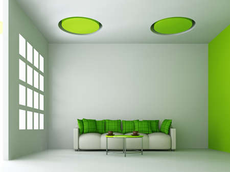 Sofa with green pillows near the wall Stock Photo - 16429934