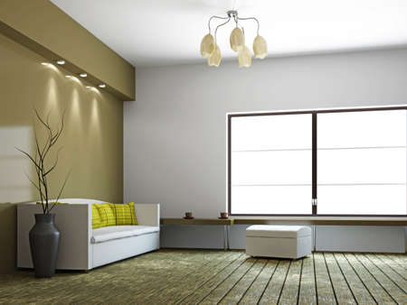 modern living room interior: A room interior with a sofa and a vase