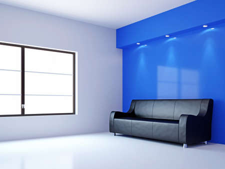 A room interior with a sofa near the wall Stock Photo - 16430066