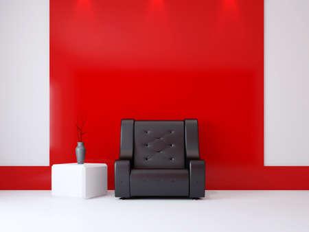 Een kamer interieur met een fauteuil in de buurt van de muur Stockfoto